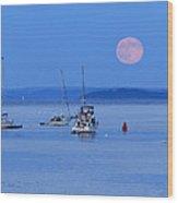 Super Moon Rising In Maine Wood Print