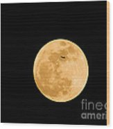 Super Moon With Airliner Silhouette Wood Print