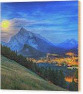Super Moonrise Over Banff Wood Print