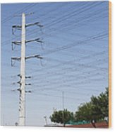 Super Power Pole And Wires Wood Print