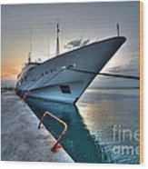 Super Yacht At Nafplion  Wood Print