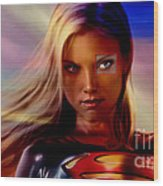 Supergirl Wood Print by Marvin Blaine