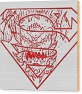 Superman And Doomsday Red Wood Print