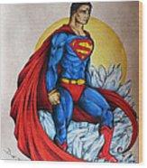 Superman Lives On Wood Print