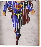 Superman - Man Of Steel Wood Print by Ayse Deniz