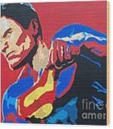 Superman - Red Sky Wood Print