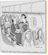 Superman Sits In A Plane Next To A Businessman Wood Print