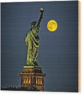 Supermoon 2014 Wood Print by Wayne Gill