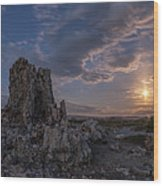 Supermoon At Mono Lake Wood Print
