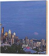 Supermoon Moonrise Over Seattle Skyline Wood Print