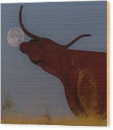 Supermoon On The Ranch Wood Print