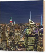 Supermoon Over Manhattan Wood Print
