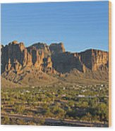 Superstition Mountain In The Evening Sun Wood Print
