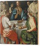 Supper At Emmaus Wood Print