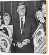 Supporters Greet Kennedy Wood Print
