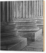 Supreme Court Columns Black And White Wood Print