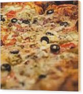 Supreme Meat Works Pizza  Sliced And Ready To Eat Wood Print