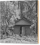 Sureal Gothic Infrared Woodlands Haunting Spooky Eerie Old Building With Black Ravens Wood Print