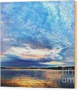 Sureal Pewaukee Lake Sunrise Wood Print