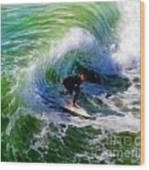 Surf 3 Off The Lip Wood Print