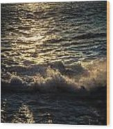 Surf At Dawn Wood Print
