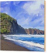 Surf At Pololu Valley Big Island Wood Print
