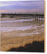 Surf City Pier Wood Print