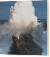 Surf Erupts On The Rocks At Shore Acres Wood Print