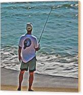 Surf Fishing Wood Print