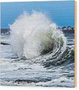 Surf Is Up At York Beach Wood Print