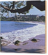 Surf On The Beach, Mauna Kea, Hawaii Wood Print