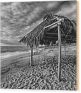 Surf Shack - Black And White Wood Print by Peter Tellone