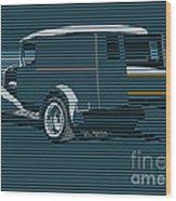 Surf Truck Ocean Blue Wood Print