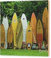 Surfboard Fence Maui Wood Print