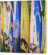 Surfboard Fence Maui Hawaii Wood Print by Edward Fielding