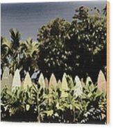 Surfboard Fence - Old Postcard Wood Print