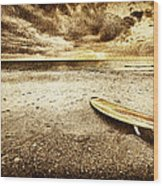 Surfboard On The Beach 2 Wood Print