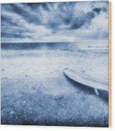 Surfboard On The Beach Wood Print