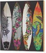 Surfboards Art Jungle2 Wood Print