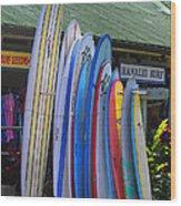 Surfboards At Hanalei Surf Wood Print