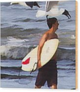Surfer And The Birds Wood Print