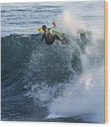 Surfer At Steamer Lane Wood Print by Bruce Frye