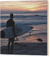 Surfer At Sunset Wood Print