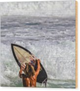 Surfer Catch The Wave Wood Print
