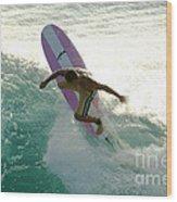Surfer Cutting Back Wood Print