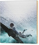 Surfer Duck Diving Wood Print