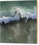 Surfer From The Sky Wood Print