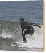 Surfer Hitting The Curl Wood Print
