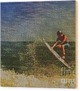 Surfer In Oil Wood Print