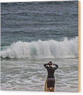 Surfer Checking The Waves Wood Print